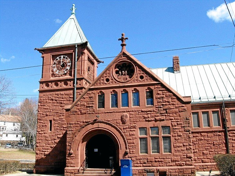 Ansonia Public Library was built in 1892 and expanded in 1960. It was built by Caroline Phelps Stokes as a memorial to her parents and maternal grandfather.