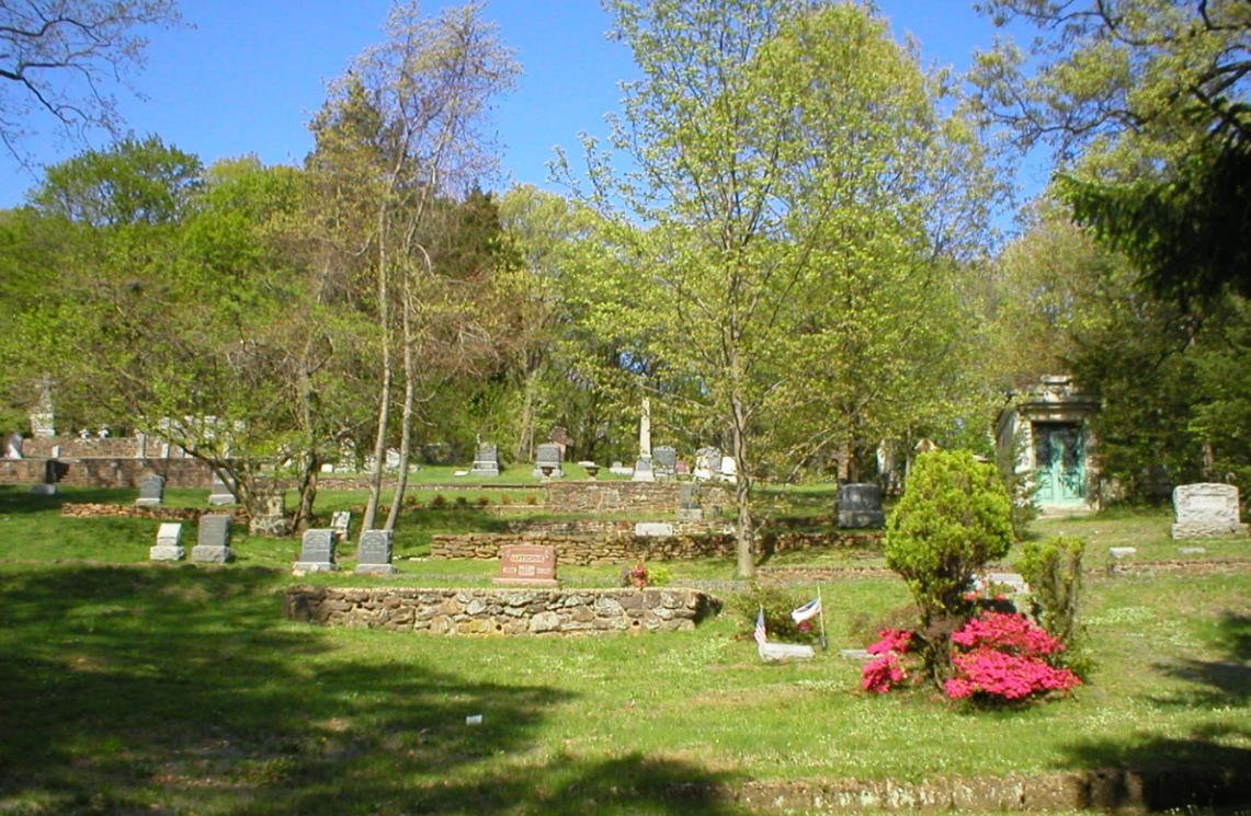 The small and well-landscaped cemetery.