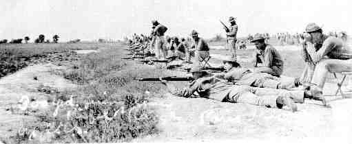 Marines qualifying on the Parris Island Recruit Depot rifle range during WWI