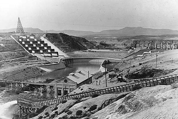 Lahontan Dam, completed in 1915, is the key feature of the Newlands irrigation project that turned Lahontan Valley into one of Nevada's most productive farming and ranching areas.