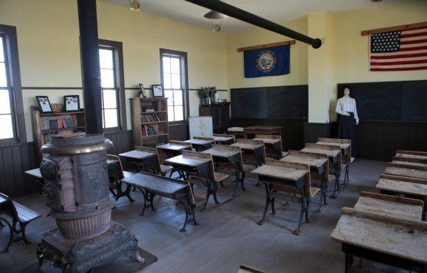 The Centennial Valley Schoolhouse was built in 1880 and still has its original desk, blackboard, and stove.