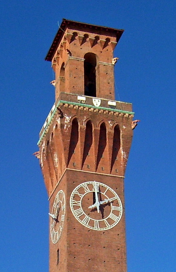 The tower is modeled after the Torre Del Mangia in Sienna, Italy.