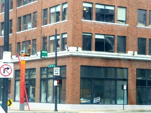 The corner of Broadway and 8th in Downtown Cincinnati as it looks in 2019.  This was the location of the H. Boyd furniture factory until it was closed in 1862 following a fire.  Photo by Donna Harris