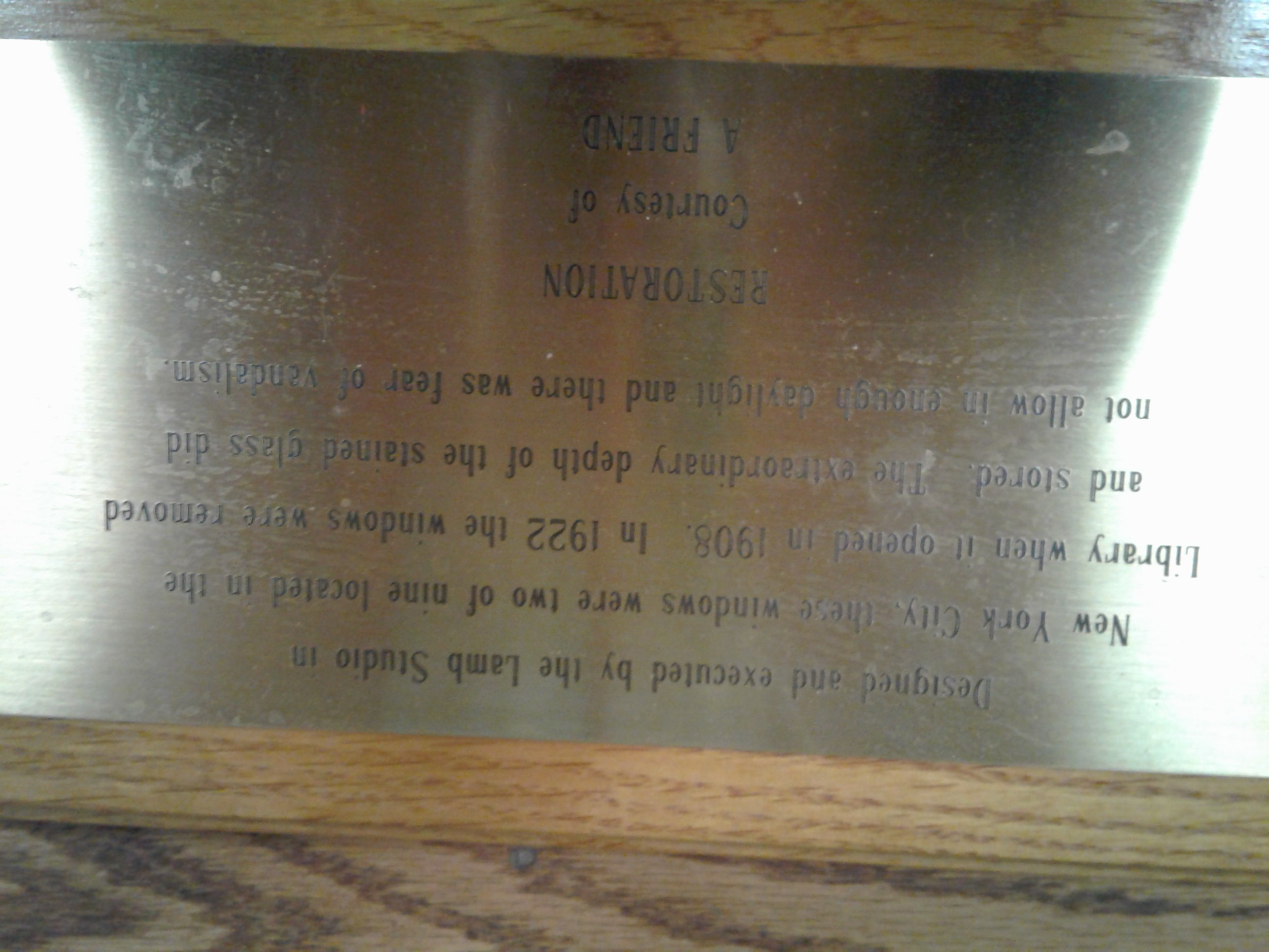 Plaque accompanying History stained glass window.  ~Courtesy Jones Memorial Library~