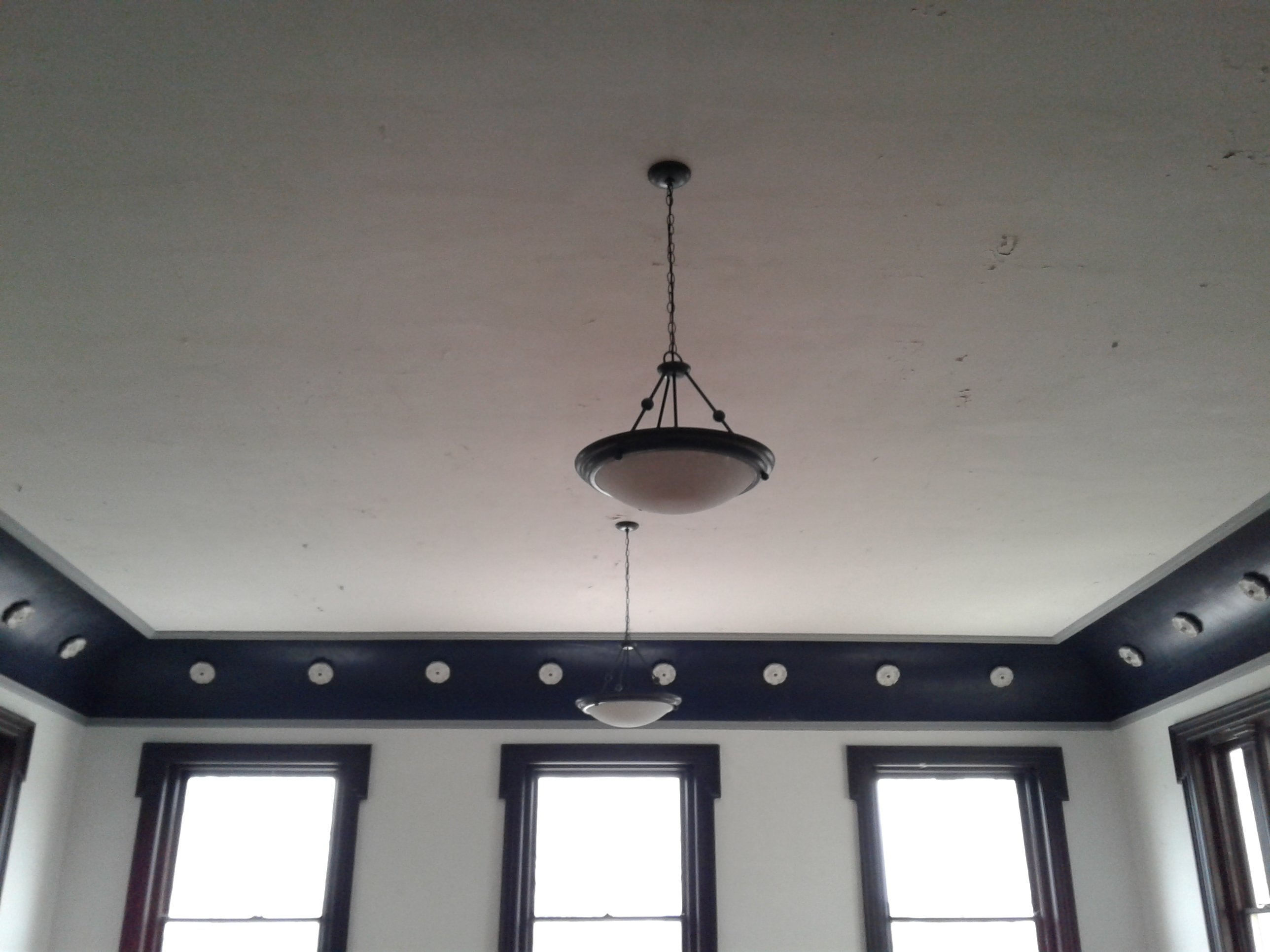 Meeting room with unique flower molding and lightbulb in center of flower molding in Historic Jones Memorial Library. Confederate soldiers met here after the Civil War.