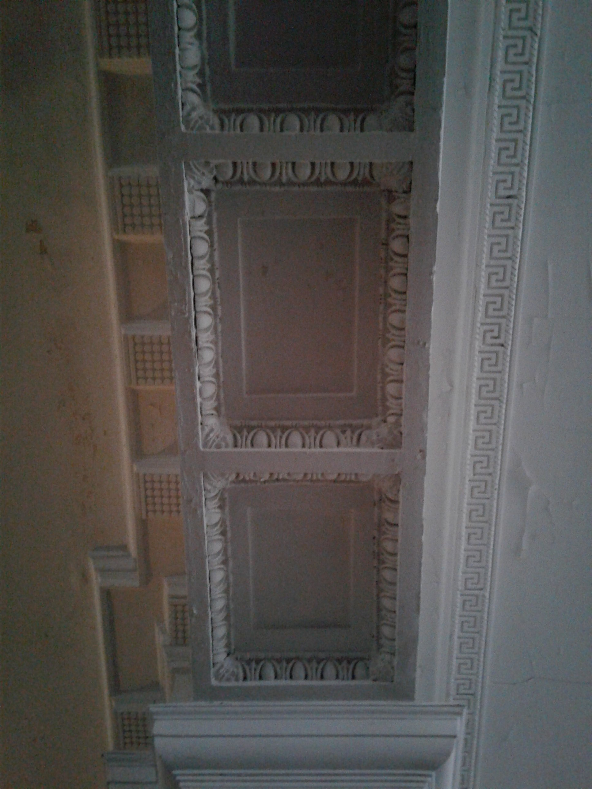 Molding along ceiling panels, Molding consists of Egg and Dart, Bead and Dart, Greek Fret, and Dentil in Historic Jones Memorial Library.