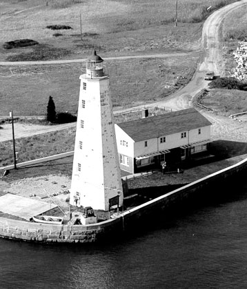 Lynde Point Lighthouse was built in 1839 and is still an active navigational aid operated by the U.S. Coast Guard.