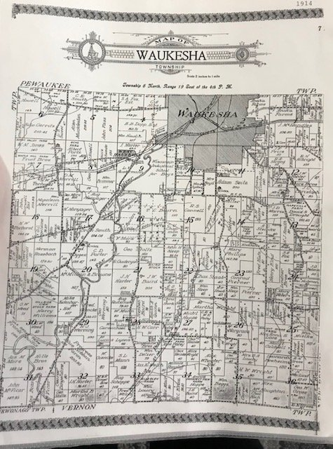 An image of the Waukesha Township in 1914, this map displays various names and locations of families and where they lived at the time. Directly East and on the border of the large gray area, believed to be farmland, you will see the name A. Erdman, of whe