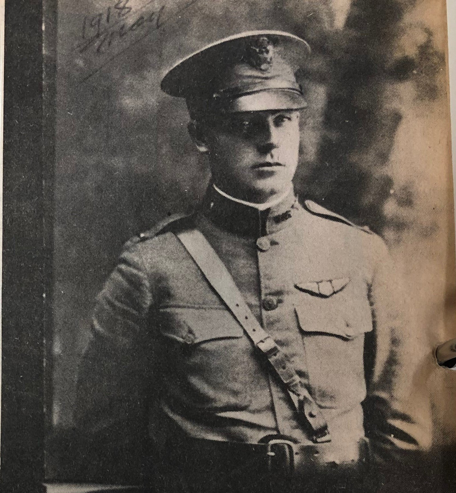 Frank Roberts, wearing an M1912 U.S. Army officer's garrison cap.