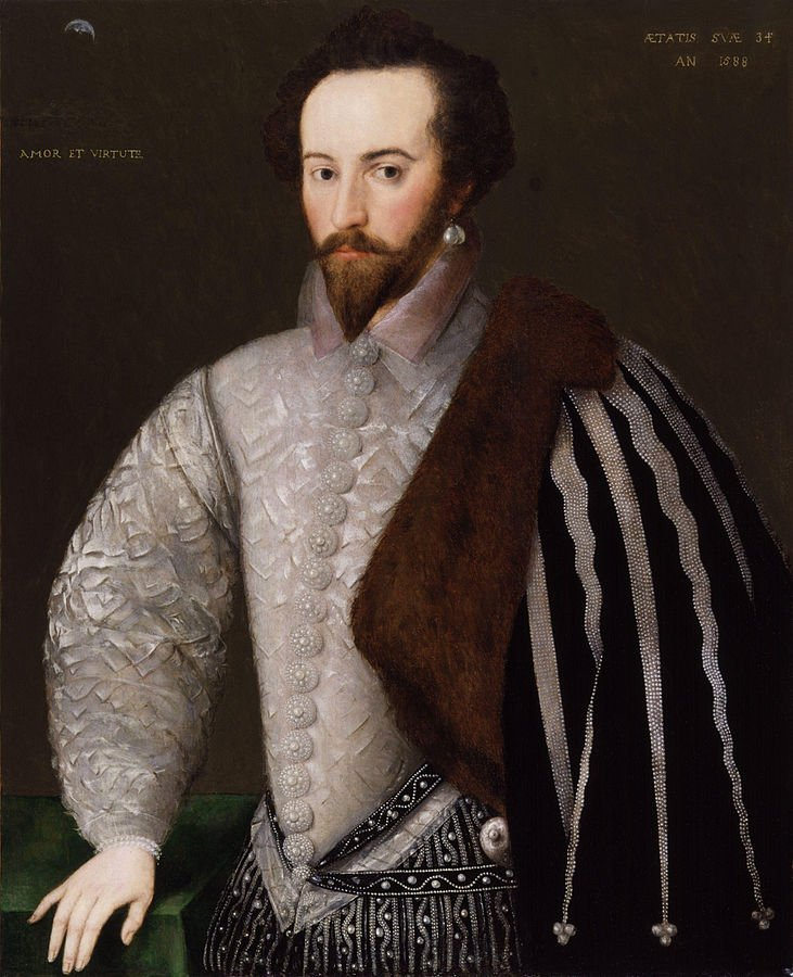 A favorite of Queen Elizabeth I, Sir Walter Raleigh established the Virginia colony and sailed to South America. He was later accused of treason and executed by King James I.