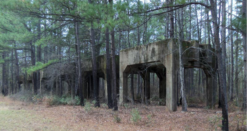 Caddo Lake National Wildlife Refuge includes many remnants of the former munitions production complex.