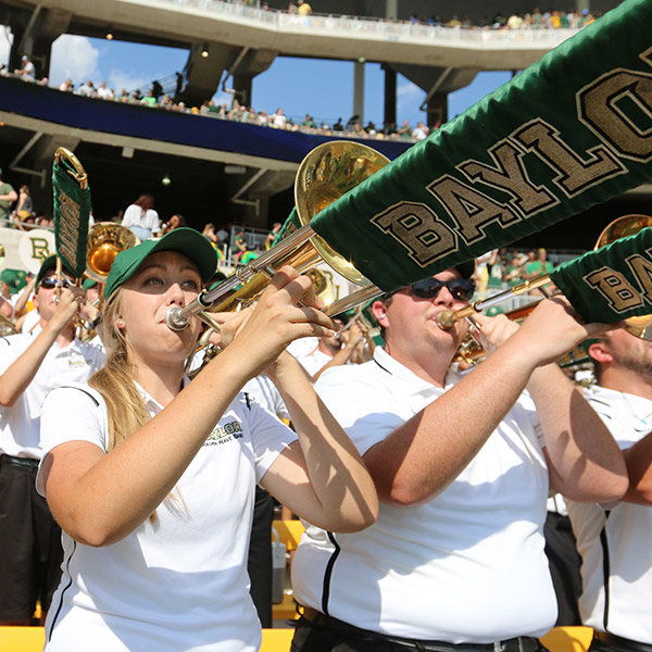 The Golden Wave Band entertains spectators at every sporting event on campus.