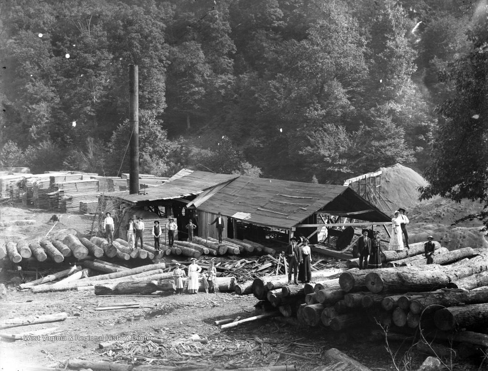 Logging camp in Webster County, circa 1900-1925.