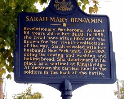 The historic marker of Sarah Mary Benjamin is located in Wayne County, PA.