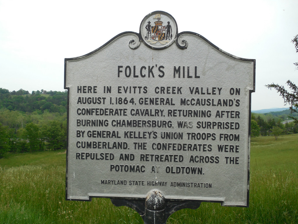 The historic marker for the battle