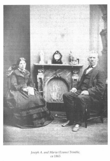 Joseph and Maria Trimble in their home at Evergreen in 1865.