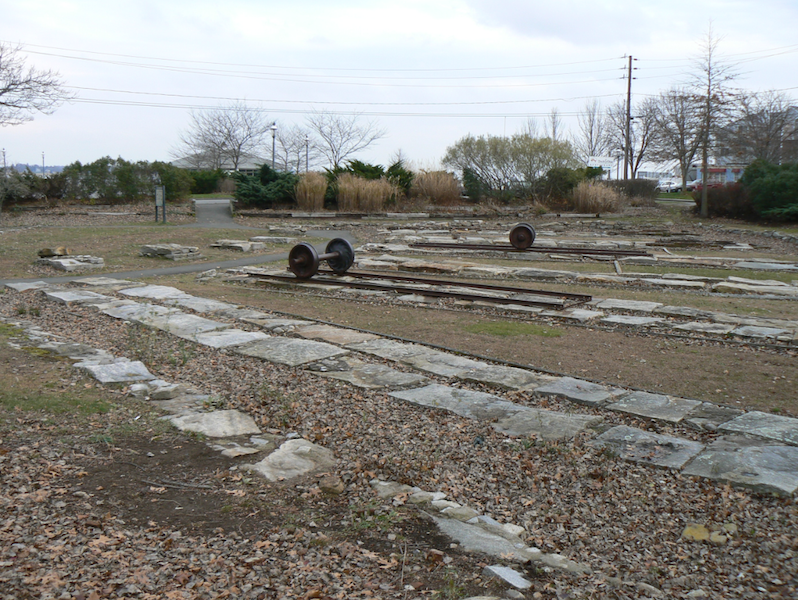 The remains of the roundhouse and turntable built by the Connecticut Valley Railroad.
