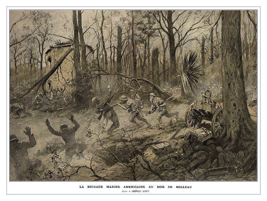 "With the Title saying ""La Brigade Marine Americaine Au Bois de Belleau"" translating from French into ""The American Marine Brigade at Belleau Wood"", this portrait portrays what was likely seen at the Belleau Woods and what probably Frank and Emil might of"