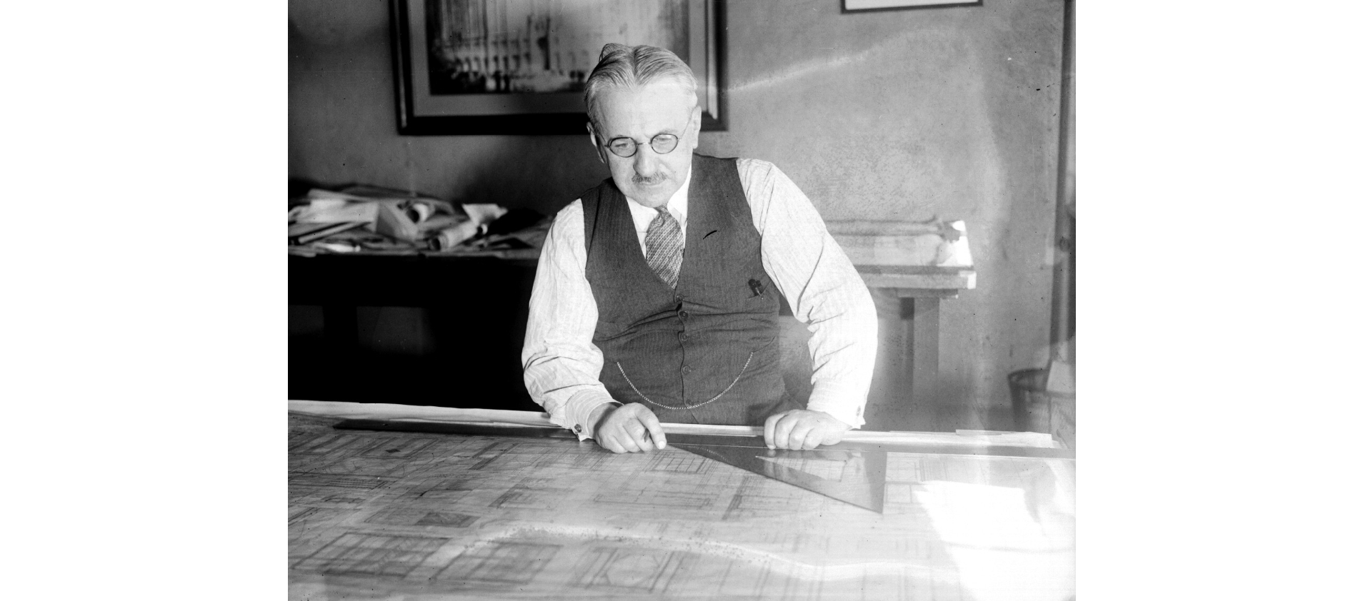 Albert Kahn, whose designs influenced an era in American industrial architecture. Many of his huge automotive plants were converted to military production during World War II (Wayne State University Libraries).