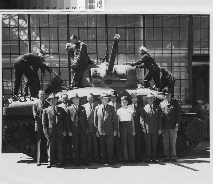 The M4 Sherman tank was a common sight rolling off the lines at Ford Assembly, totaling over 55,000 completed units by the end of the war (Richmond Public Library).