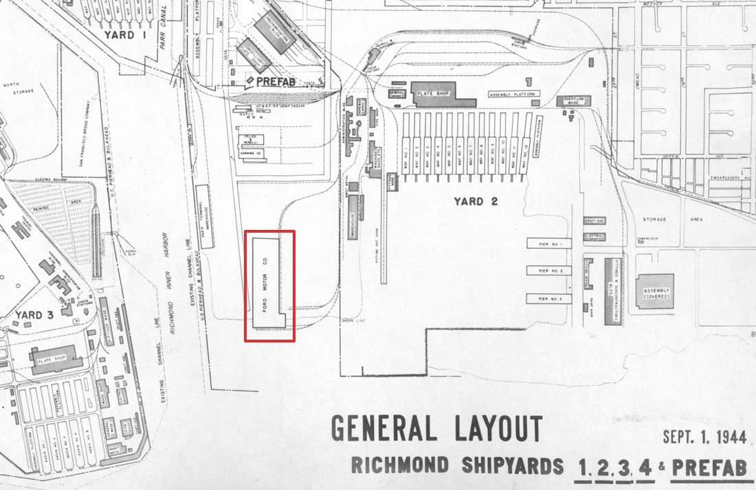 Overhead map showing the placement of Ford Assembly relative to the surrounding shipyards and terminals (Kaiser Archives).