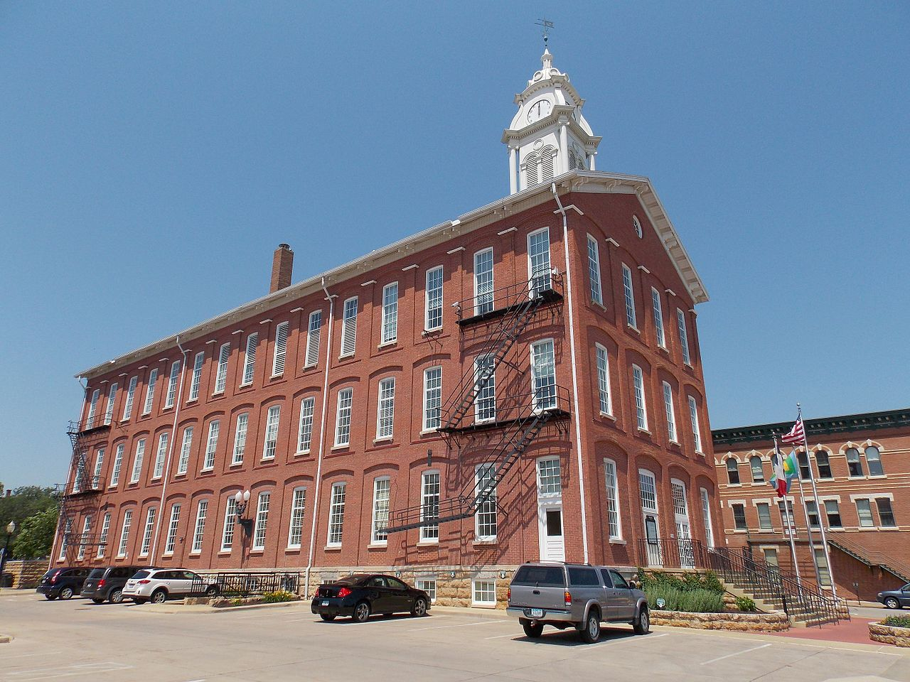Dubuque City Hall was built in 1857 and is listed on the National Register of Historic Places.