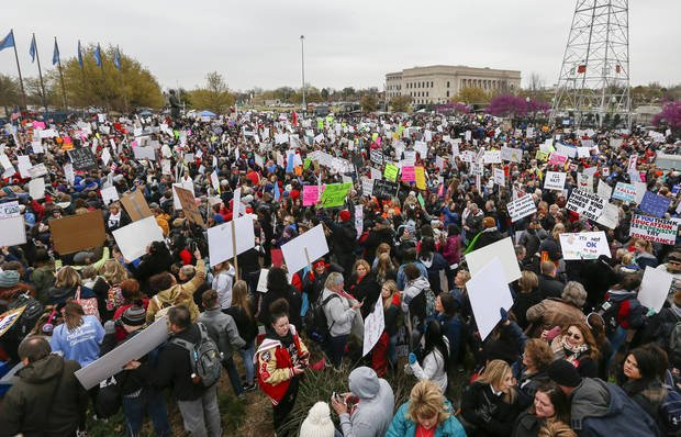 """The rally on the south side of the state Capitol during a walkout by Oklahoma teachers, in Oklahoma City, Monday, April 2, 2018."" Photo by Nate Billings, The Oklahoman."