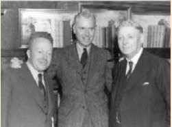 (right to left) William Bizzell, founder of OU Press; Joseph Brandt, first director the Press; and an unidentified man.