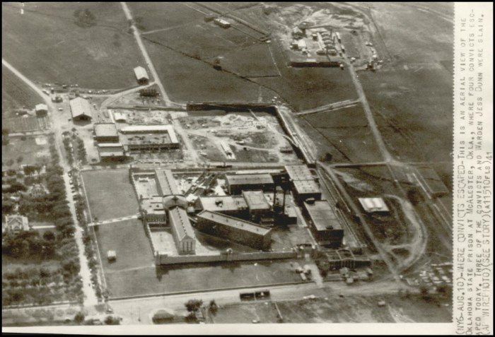 This photo is an areal view of the McAlester State Prison in the 1940s. Jack Skinner was an inmate here. Accessed on Gateway to Oklahoma History. Associated Press August 10, 1941.