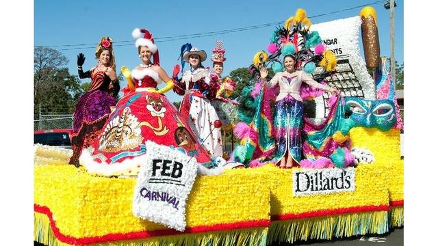 Here is a float on which several of the Duchesses are waving to the crowds on the streets of Tyler, Texas.