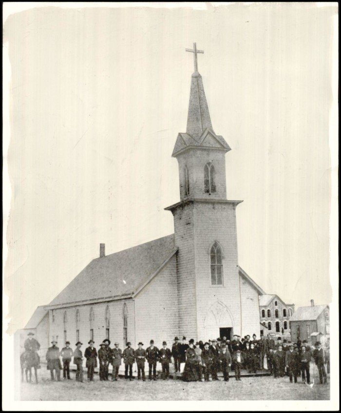"""Photograph used for a story in the Oklahoma Times newspaper. Caption: """"This Frame building was the first church built in Oklahoma City."""""""