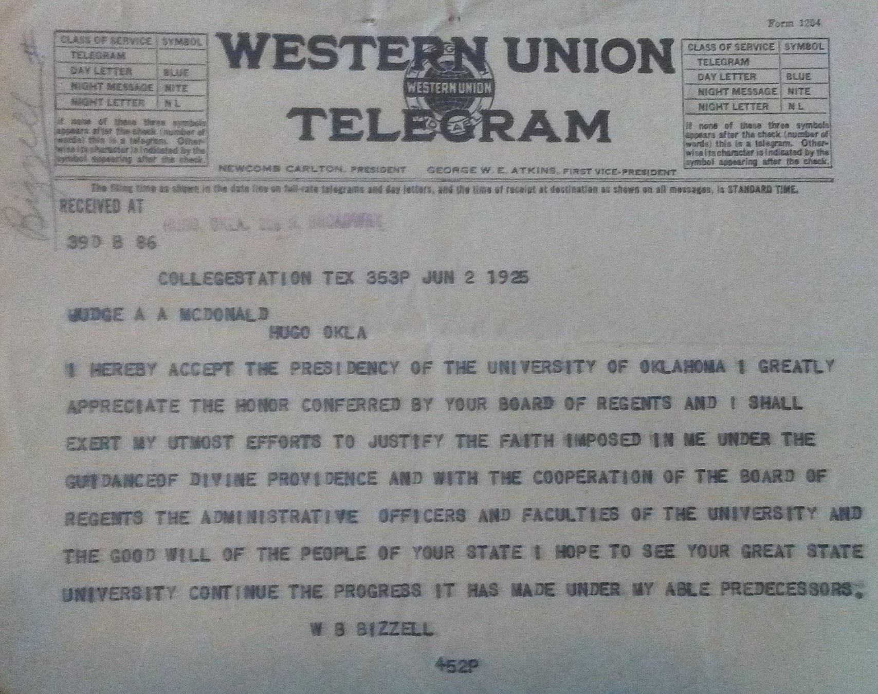 The telegram sent by William Bizzell accepting the position as President of the University of Oklahoma.