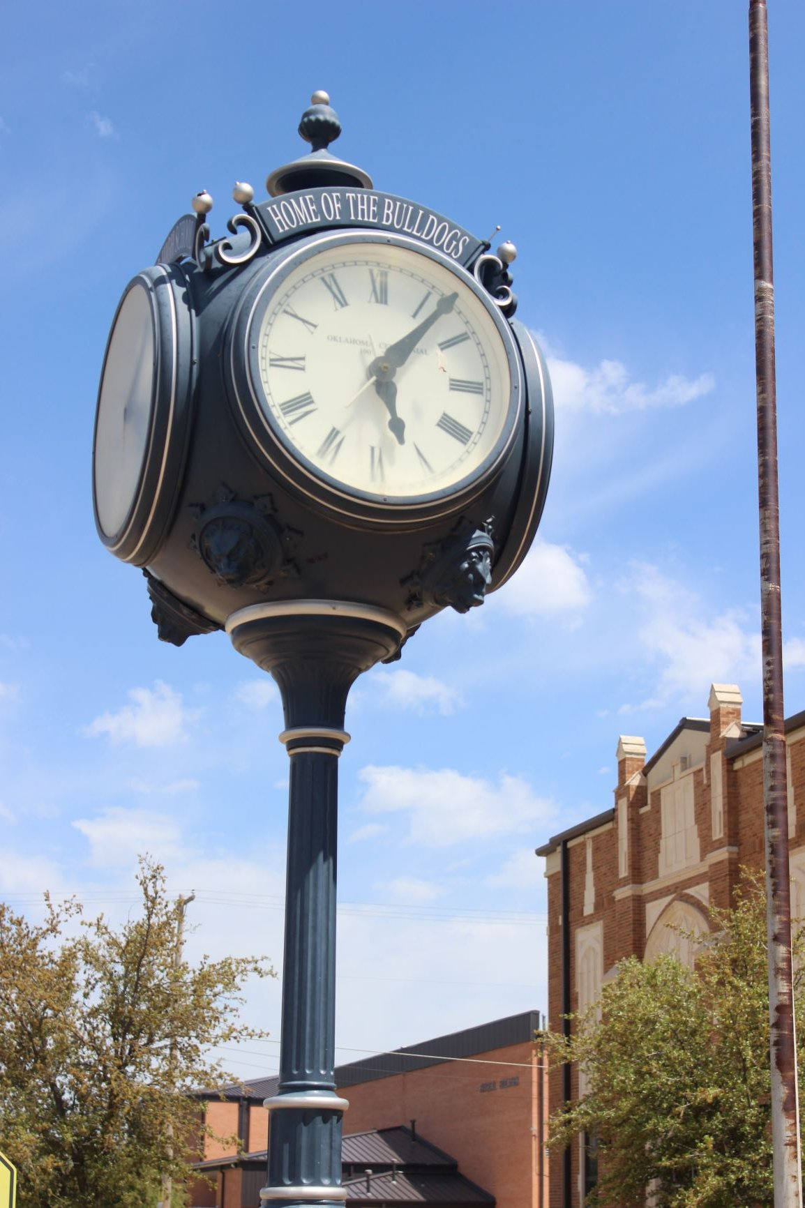 Centinial Clock over looking the front of Altus high school. This beautiful piece was donated by the First State Bank of Altus in December of 2007.