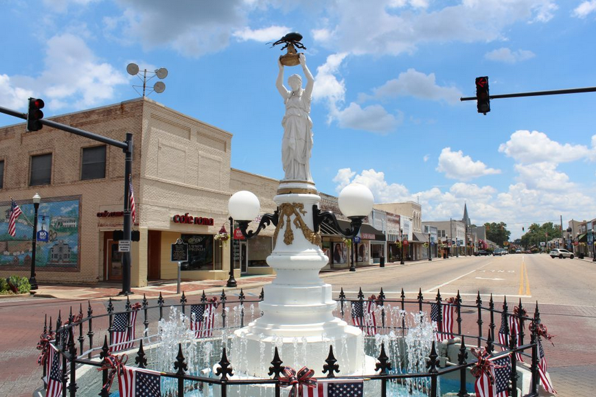 This is the monument as it stands today in the middle of the intersection of W. College Street and Main Street.