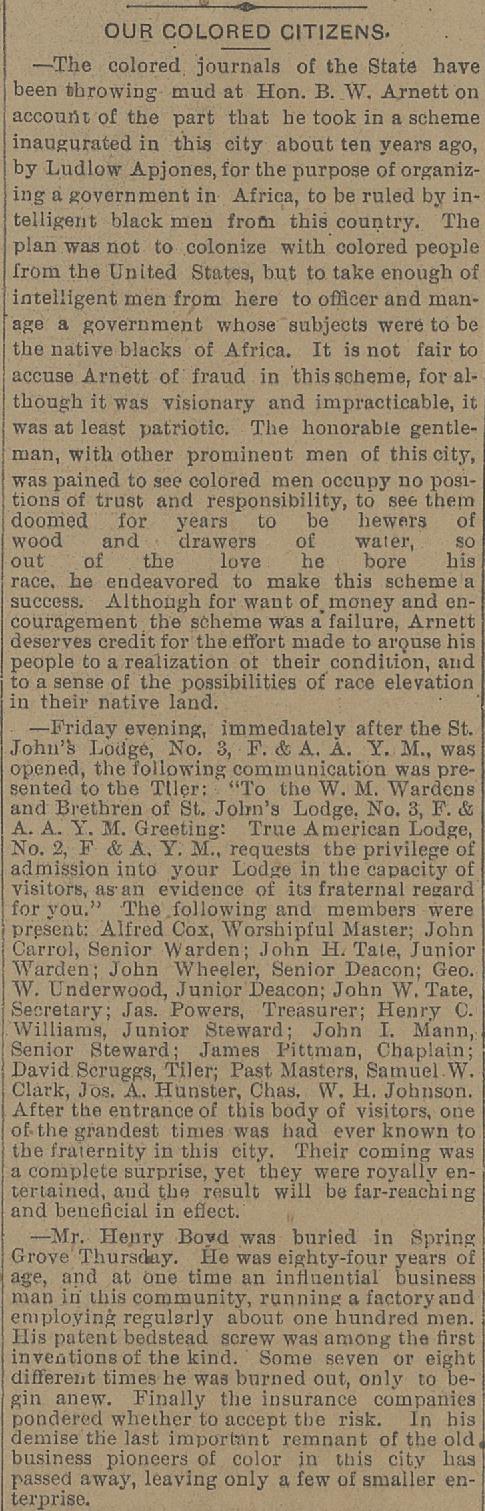 Henry Boyd's obituary. Cincinnati commercial gazette, March 7, 1886.  Public Library of Cincinnati and Hamilton County