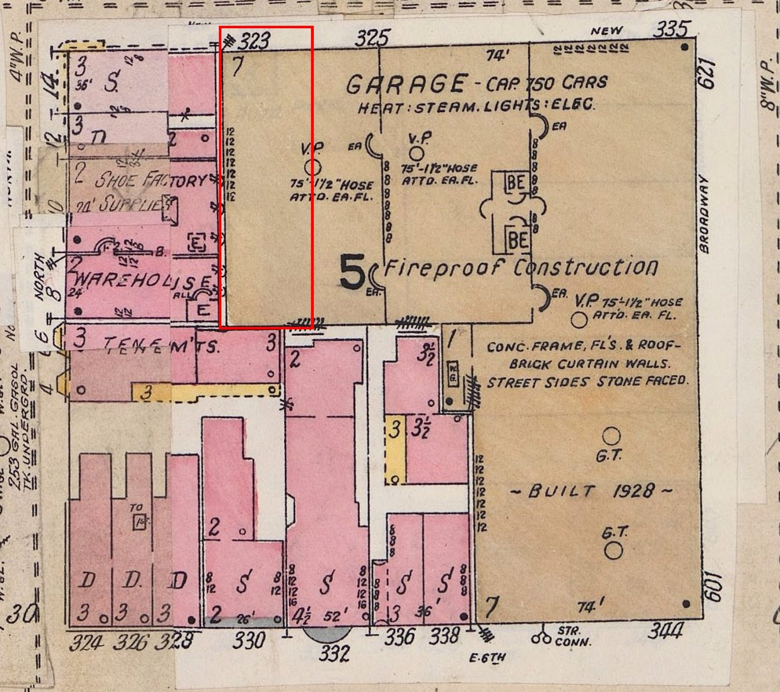 1904-1930 Sanborn Insurance Map - Former location of Henry Boyd's house outlined in red