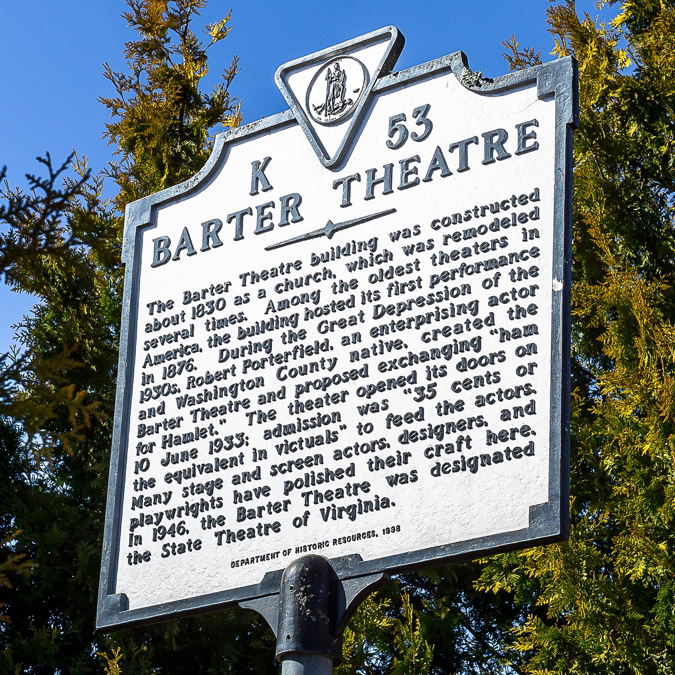Barter Theatre historical marker