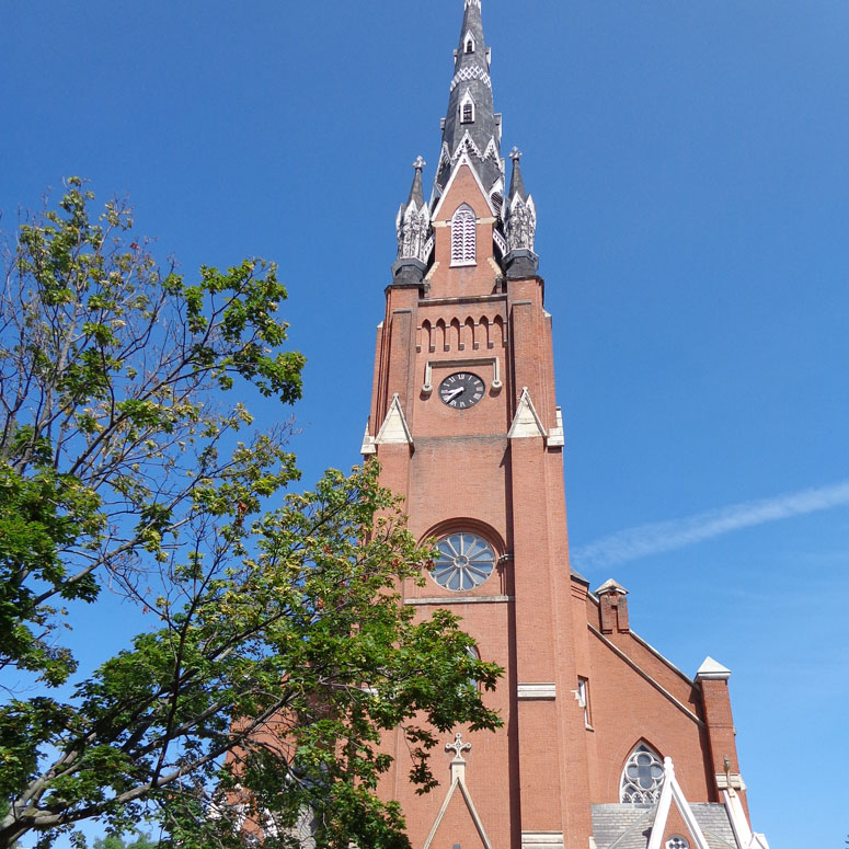 Built in 1867, the old St. Mary's Catholic Church is now the centerpiece of Steeple Square.