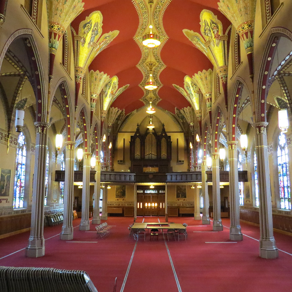 The interior of the former church is used for various events and art exhibits.