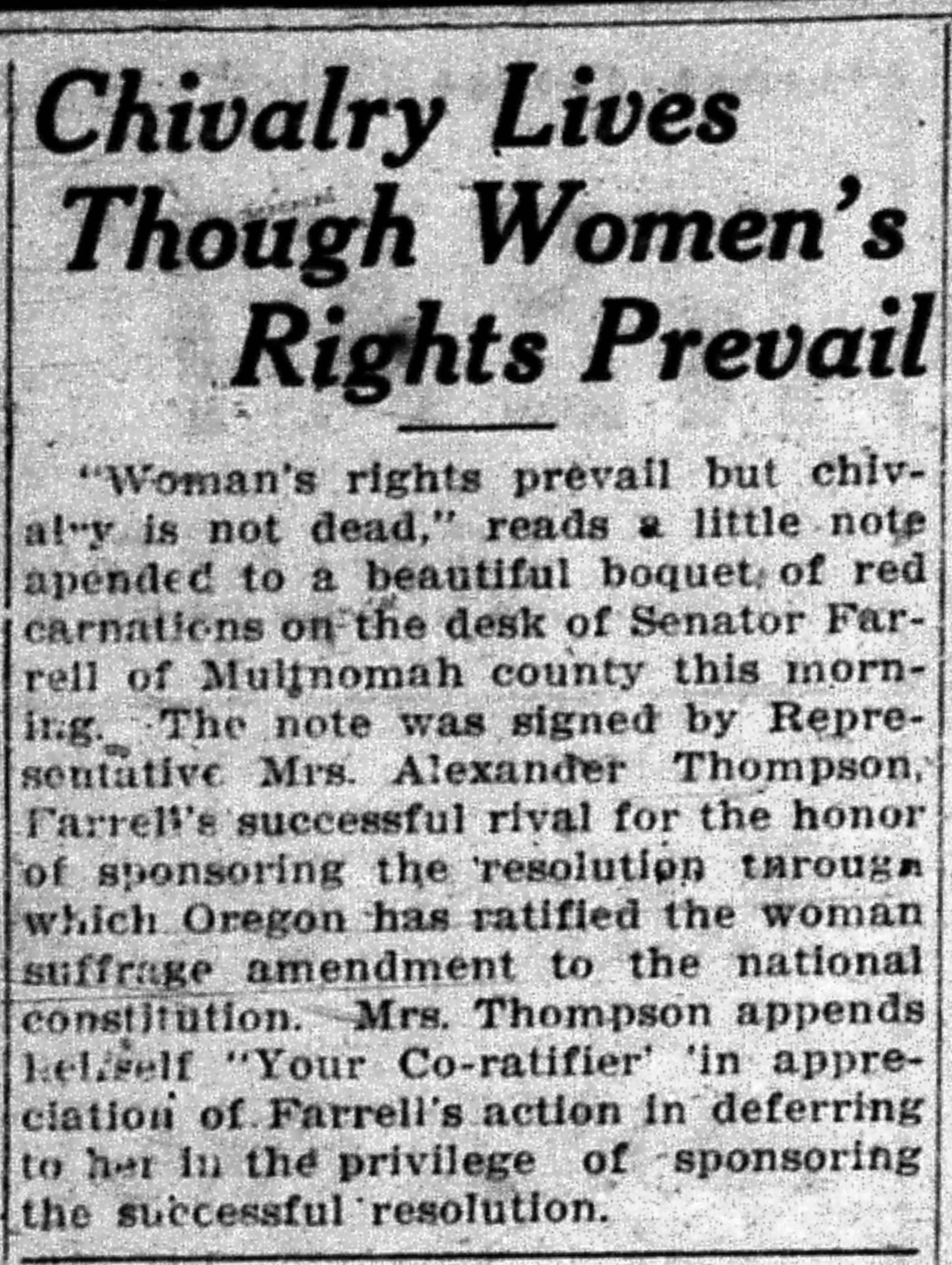 """Chivalry Lives Though Women's Rights Prevail,"" Salem Capital Journal, January 15, 1920, 6."