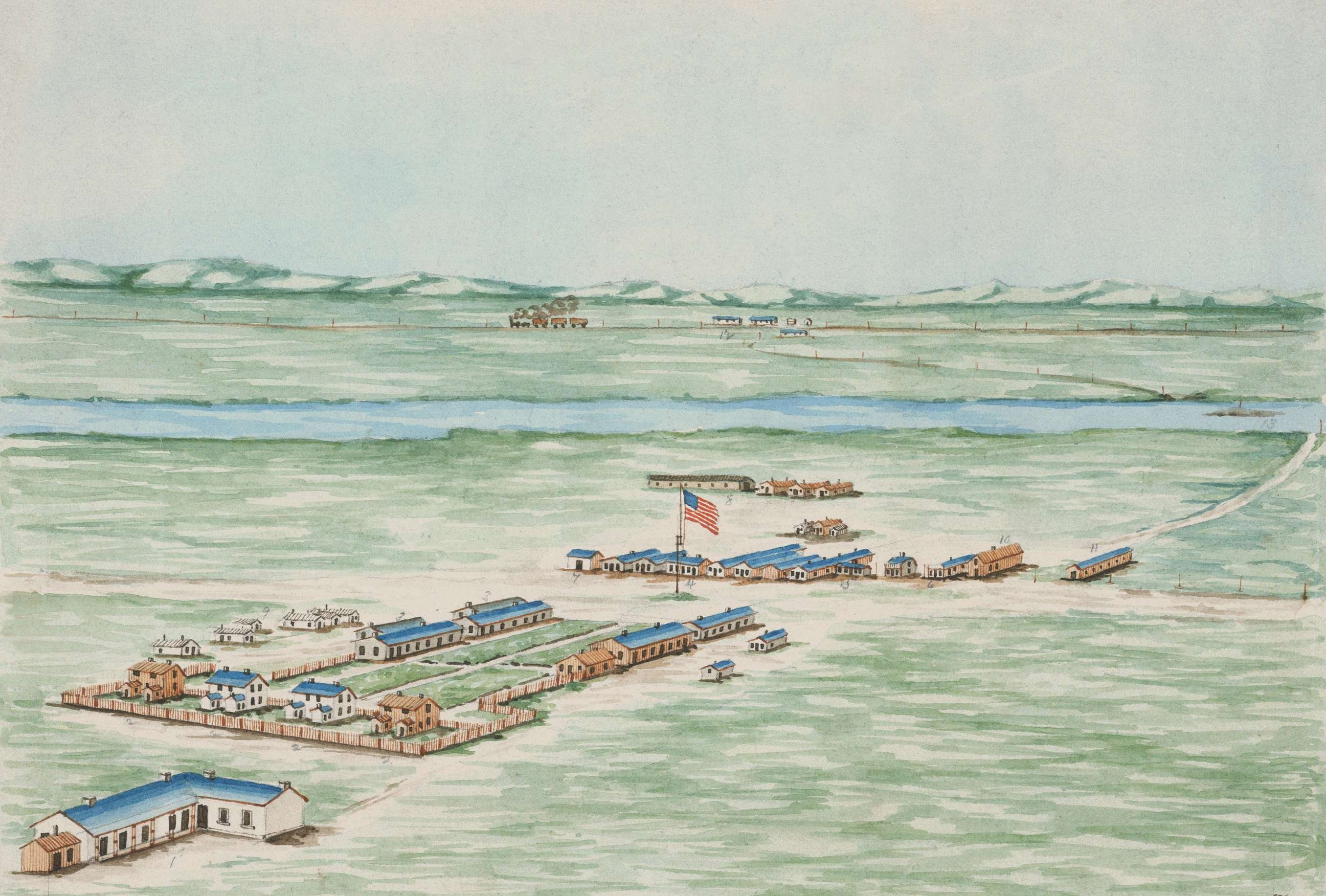 This painting depicts Fort Sedgwick in 1871 just before the post was abandoned and the troops relocated.  The Denver Road or the South Platte River Road as it was also known runs across the photo and through the post.