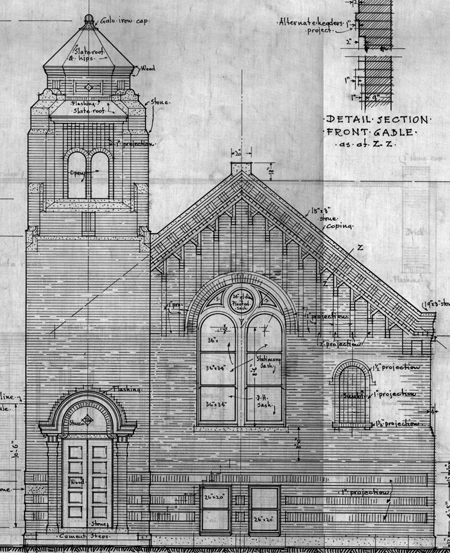 Drawing of the facade of the Ebenezer United Methodist Church