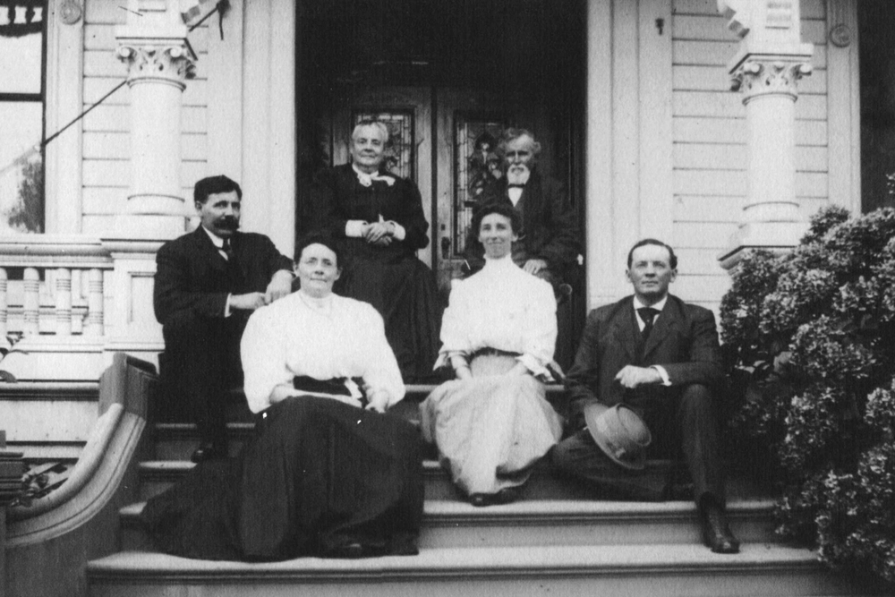 Sarah and Neal McConaghy (top) with their children on the steps of the house. Like many others, though Neal intended to make his California fortune in gold, his living was eventually secured through agriculture (HAHS).