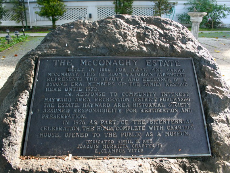 A plaque on the estate grounds.