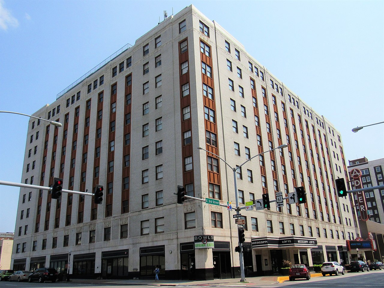 The Mississippi Lofts and Adler Theatre building was constructed in 1931.