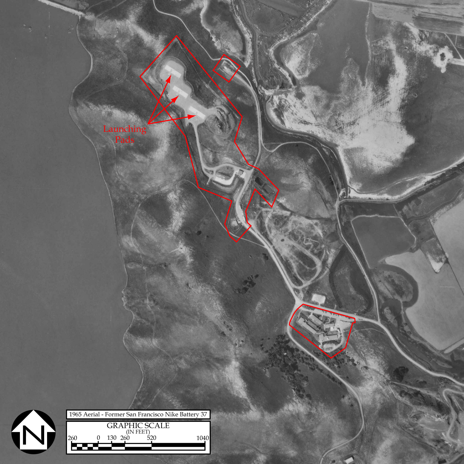 A 1965 aerial showing the Administrative and Launch sections of the Nike missile facility at Coyote Hills (MilitaryMuseum.org).