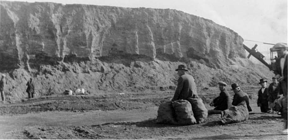 A 1924 photo of the destruction of the Emeryville shellmound. Over 400 such mounds existed throughout the Bay Area. Coyote Hills contains one of the few still preserved.