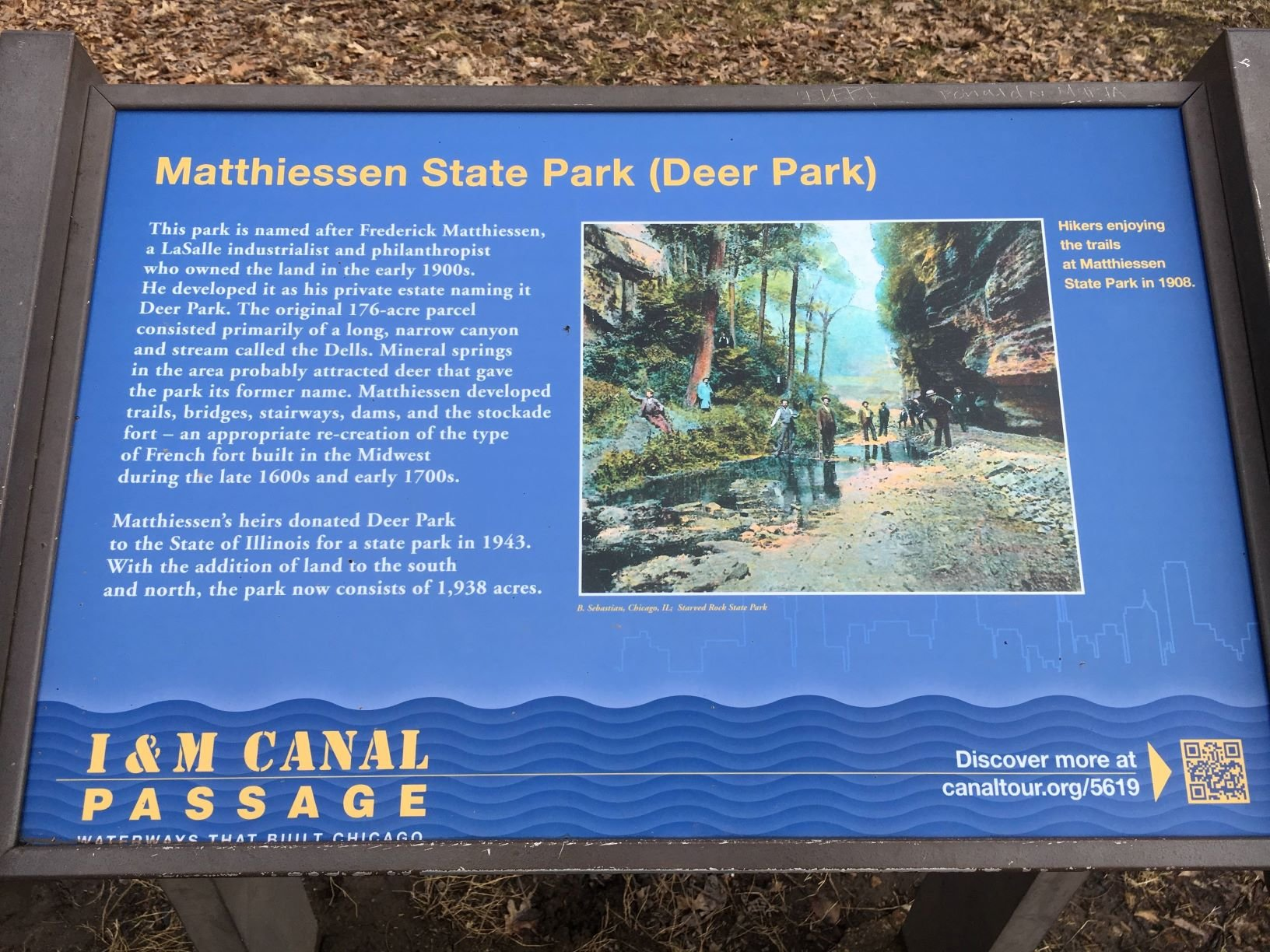 A sign that has a brief history of how Matthiessen State Park came to be.