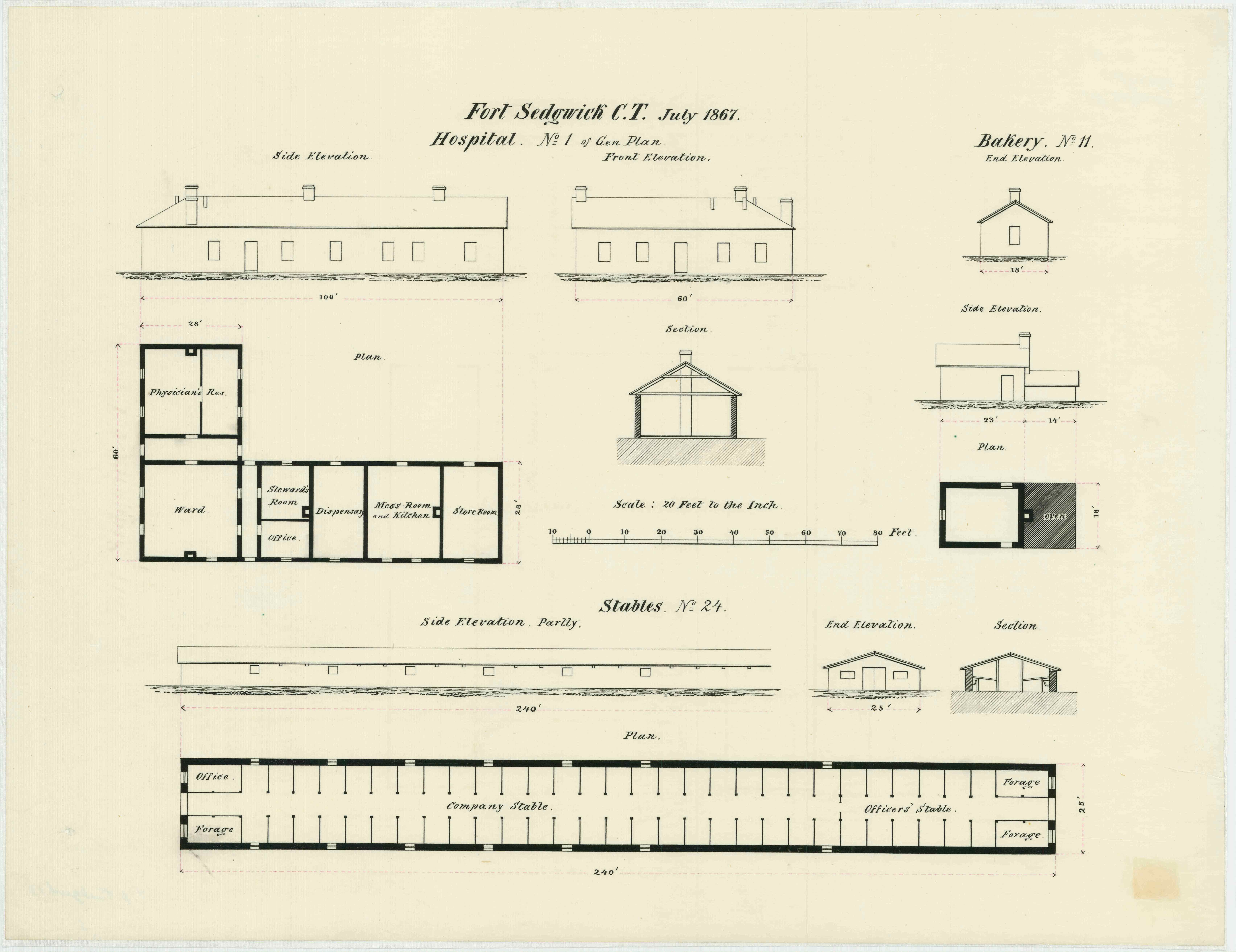 July 1867 military architectural plans for the bakery, stable, and hospital at Fort Sedgwick (Courtesy of the Map Division, Archives II, NARA)