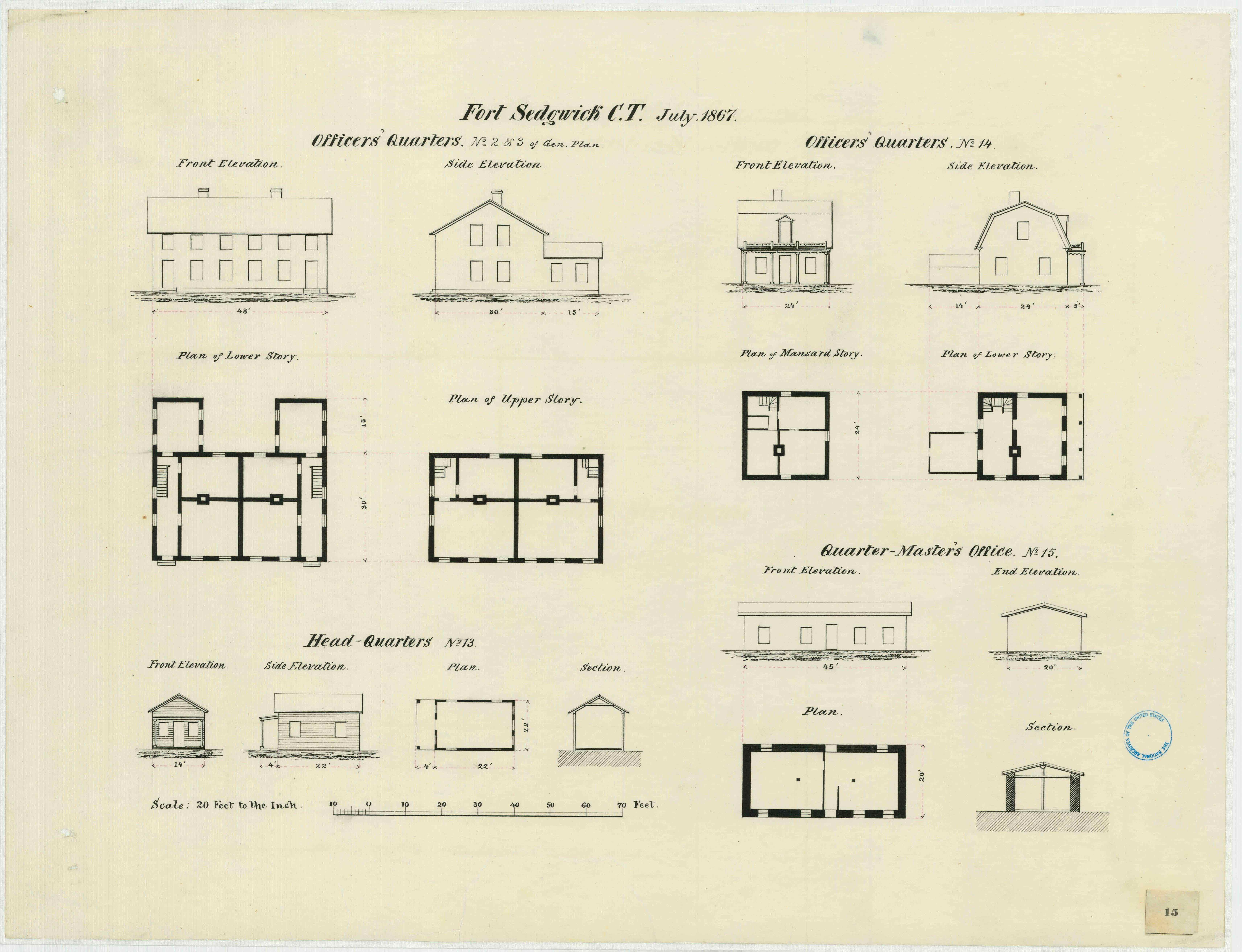July 1867 military architectural plans for the officers' quarters, headquarters, and quartermaster's office at Fort Sedgwick (Courtesy of the Map Division, Archives II, NARA)
